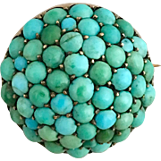 Antique Victorian Pave Cluster Turquoise Sterling Silver Gilt Brooch Pin