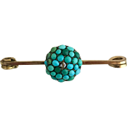 Antique Victorian Turquoise Diamond Pave Cluster Gilt Brooch Pin
