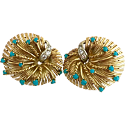 Retro 18k Gold Diamond Natural Persian Turquoise Signed Earrings