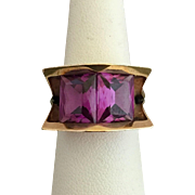 14K Gold Antonio Pineda Taxco Amethyst Gemstone Mexican Modernist Ring