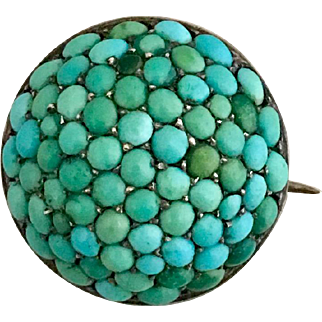 French Antique Victorian Pave Cluster Turquoise 800 Silver Pin Brooch