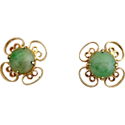 14k Gold Chinese Jadeite Jade Stud Earrings