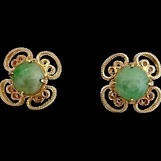14k Gold Chinese Jadeite Jade Stud Earrings