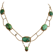 Antique Edwardian 14k Gold Natural Turquoise and Pearl Necklace