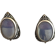Russian Signed Glowing Blue Moonstone Earrings