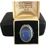 Russian Signed Glowing Blue Moonstone Ring