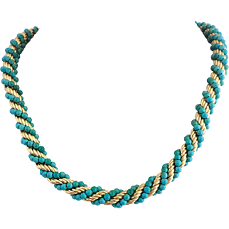 18k Gold Italian Designer Succo Turquoise Bead Woven Chain Necklace