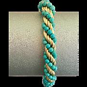 18k Gold Italian Designer Succo Turquoise Bead Woven Chain Bracelet