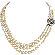 Art Deco Ciro Cultured Pearls and Paste Crystal Sterling Silver Triple Strand Necklace