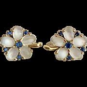 Retro 14K Gold Moonstone and Sapphire Gemstone Earrings