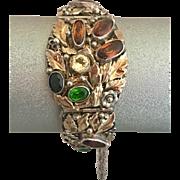 Retro Hobe Sterling Silver Jewel Amber Topaz Citrine Peridot Crystal Bracelet