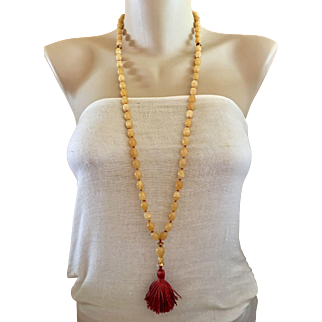 Rare Tiffany & Co 18k Gold Agate Gemstone Beaded Tassel Lavaliere Necklace
