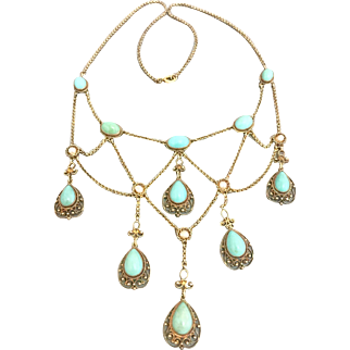Antique Victorian 14k Gold Persian Turquoise Pearl Festoon Necklace