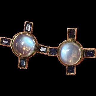 Retro 12k GF Moonstone and Sapphire Earrings