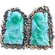 Art Deco Carved Jadeite Jade Buddha Gilded Earrings