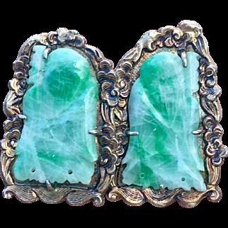 Art Deco Carved Jadeite Jade Buddha Gilded Earrings
