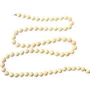 Art Deco 14k White Gold Angel Skin Coral Beaded Necklace Heavy 90 Grams