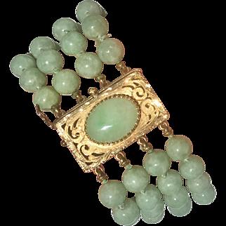 Retro 14k Gold Jadeite Jade Multi Strand Bracelet