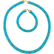18k Gold Italian Designer Turquoise Beaded Woven Necklace and Bracelet Set