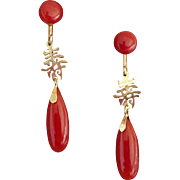 18k Gold Chinese Natural Coral Earrings