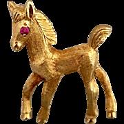 Cartier 18k Gold Horse Ruby Gemstone Brooch Pin