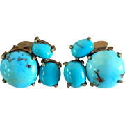 Antique Edwardian Persian Turquoise Clip Earrings