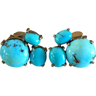 Antique Edwardian Persian Turquoise Clip Earrings