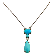 Antique Edwardian Persian Turquoise Sterling Silver Pendant Necklace