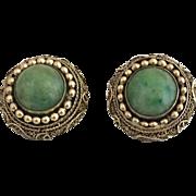 Antique Chinese Gilded Sterling Silver Jadeite Jade Earrings