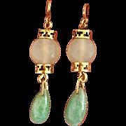 Art Deco 14k Gold Jadeite Jade Gemstone Beaded Drop Earrings