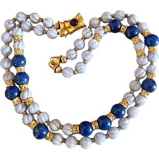 Gilt Lapis Carved Chalcedony Agate Gemstone Beaded Double Strand Necklace