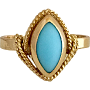 18k Gold Natural Persian Turquoise Gemstone Ring