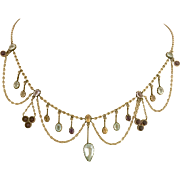 Antique Victorian 9k Gold Multi Gemstone Aquamarine Amethyst Citrine and Amethyst Festoon Necklace