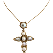 Antique Georgian 14k Gold Pearl Diamond Cross Pendant Necklace