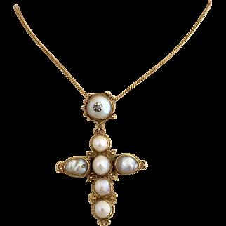Antique Georgian 14k Gold Pearl Diamond Cross Pendant Necklace