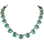 Antique Edwardian Aquamarine Glass Riviere Open Back Necklace