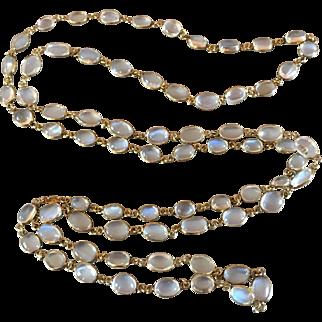 9k Gold Glowing Moonstone Open Back Bezel Set Necklace