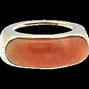 Rare 14k Gold Natural Jadeite Jade Saddle Ring Mason Kay Report Included