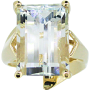 14k Gold Retro 8ct Aquamarine Gemstone Emerald Cut Custom Ring