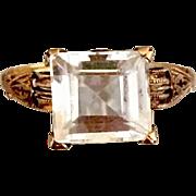 Antique Victorian 18 K Gold White Sapphire Gemstone Ring