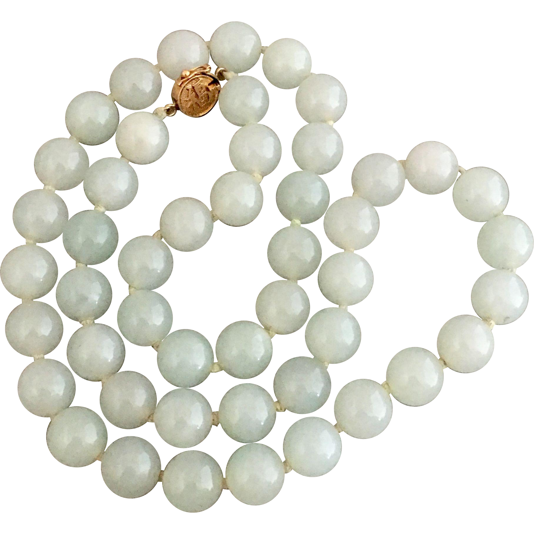 Gia Chinese Natural Jadeite Celadon Jade 14k Gold Beaded Necklace Includes Appraisal