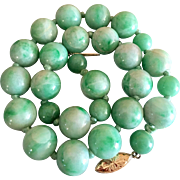 Antique Natural Jadeite Jade Gemstone 14k Gold Beaded Necklace