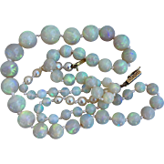 Antique 14k Gold Australian Opal Gemstone Pearl Beaded Necklace