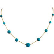 Milor Italian 14k Gold Natural Turquoise Beaded Necklace
