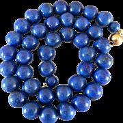 Retro 14k Gold Lapis Lazuli Gemstone Beaded Necklace
