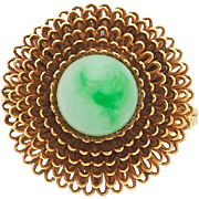 Retro 14K Gold Natural Jadeite Jade Beaded Ring