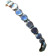 Art Deco Sterling Silver Moonstone Bezel Set Necklace