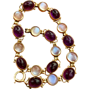 Art Deco 14k Gold Moonstone and Amethyst Gemstone Bracelet