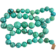 Art Deco 14k Gold Natural Chinese Turquoise Beaded Necklace