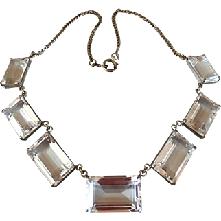 Art Deco Sterling SIlver Japan Quartz Rock Crystal Gemstone Necklace